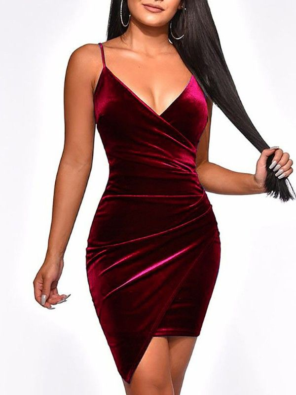 6dc4229ab47e4 Irregular Wrap Velvet Party Dress | Clothes & Accessories in 2019 ...