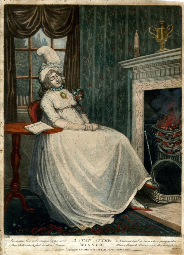 Laurie & Whittle,  A Nap after Dinner, 1796, A young woman dozing in a chair…