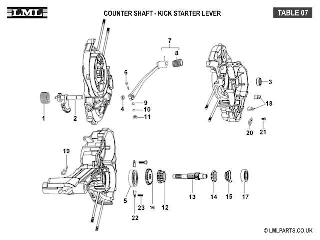 (07) COUNTER SHAFT-KICK STARTER - Tasso LML Scooter Spare Parts