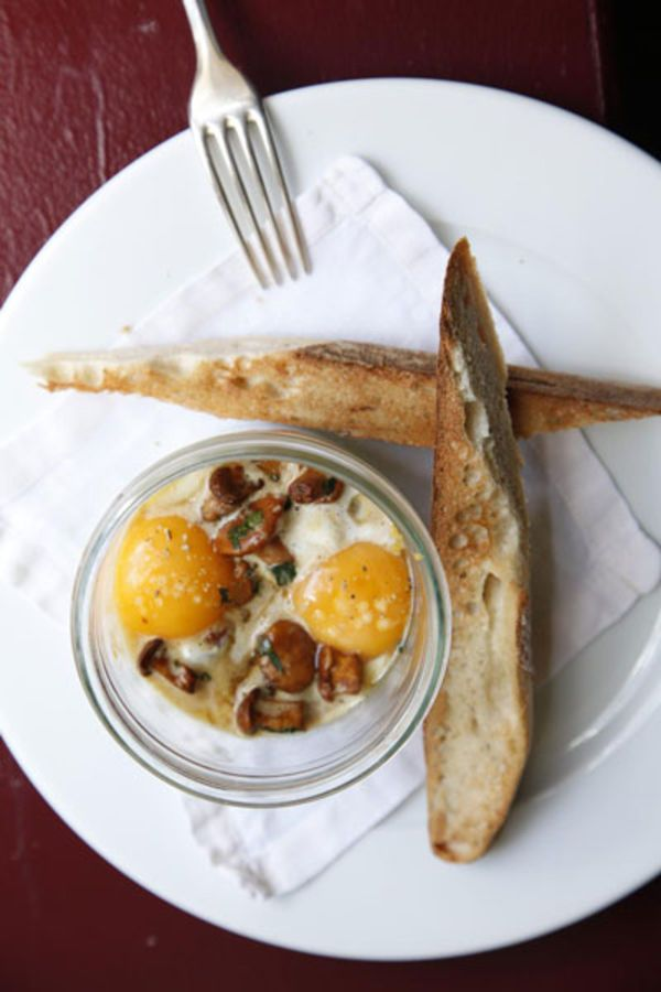 Eggs baked in cream: spinach, and mushrooms gently baked in a luxurious bath of cream.