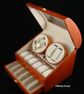 QUALITY WOOD QUAD WATCH WINDER (4) +12 STORAGE BOX by Kendal. $135.98. 3 modes of fuzzy-logic computer controlled winding ensures that your watches will be fully wound up and ready to wear anytime, everyday. Quiet motor.. Winding of up to 4 watches (good for both man's and lady's watches) simultaneously, providing maximum flexibility and versatility.. Fine solid wood construction. Hand polished for high gloss finish. Interior is made of top quality deluxe silsuede....
