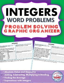 integers word problems with graphic organizer adding integers. Black Bedroom Furniture Sets. Home Design Ideas