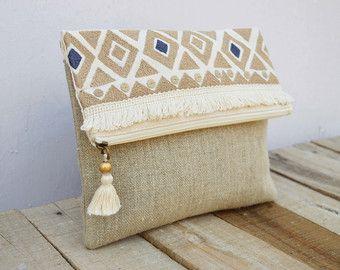 Bolsa Boho bolso de lino patrón de kilim marroquí embrague   Supernatural Sty
