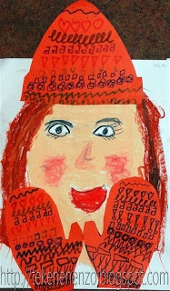Teken jezelf met een wintermuts en wanten. Versier de muts en wanten met vrolijke patronen.