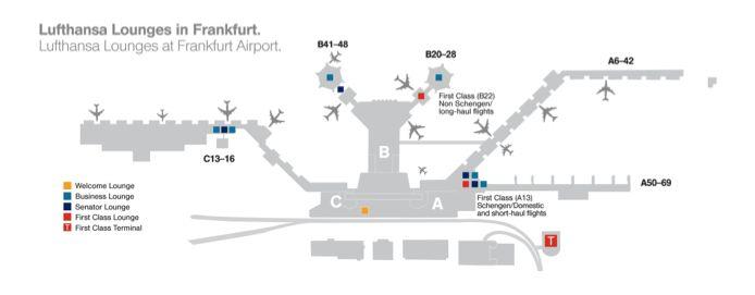 Map Of Lufthansa Lounges Frankfurt Airport  Lufthansa