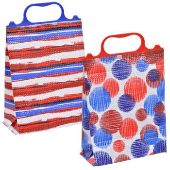 Patriotic Reusable Insulated Lunch Bags with Plastic Handles (Set of 2)