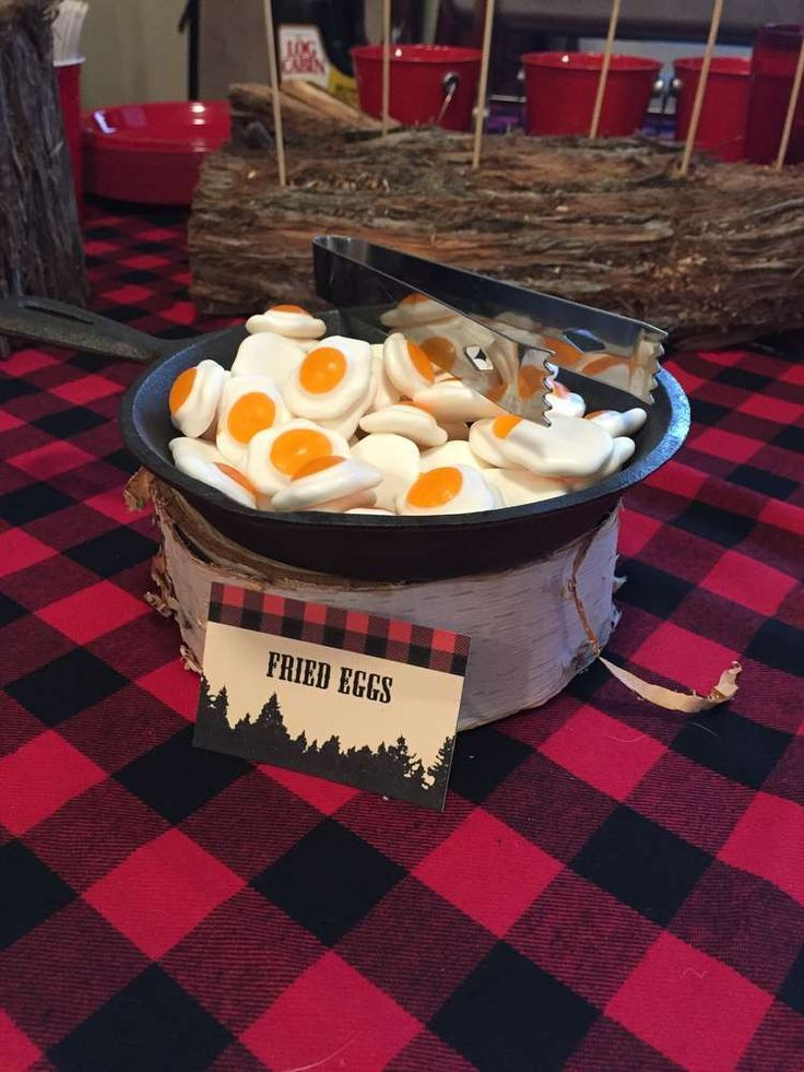 Fried eggs at a lumberjack birthday party! See more party