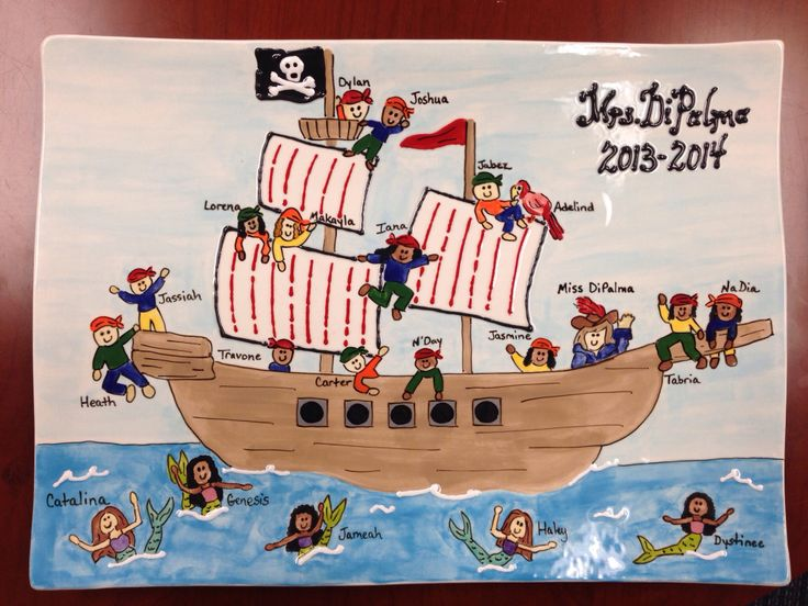 Fingerprint pottery pirate ship