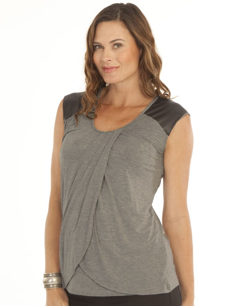 Adorable nursing top with faux leather patch at the shoulder. Petal front design for easy nursing access. A great top for work or casual wear. Shop now! milkandbaby.com
