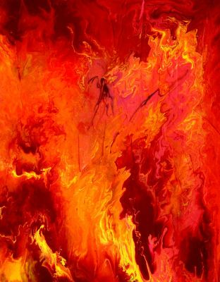 "Original Abstract Art - ""Fire & Passion 2"" - Acrylic Painting by Lorraine Skala"