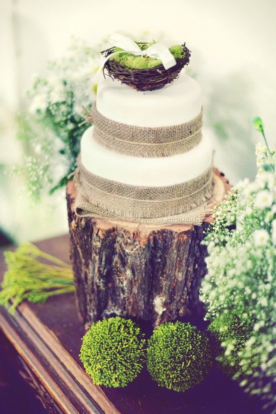 Love the white fondant with burlap wrap.  Wildflower topper on a vintage cake stand would make it perfect. IVE MADE UP MY MIND> THIS IS IT!