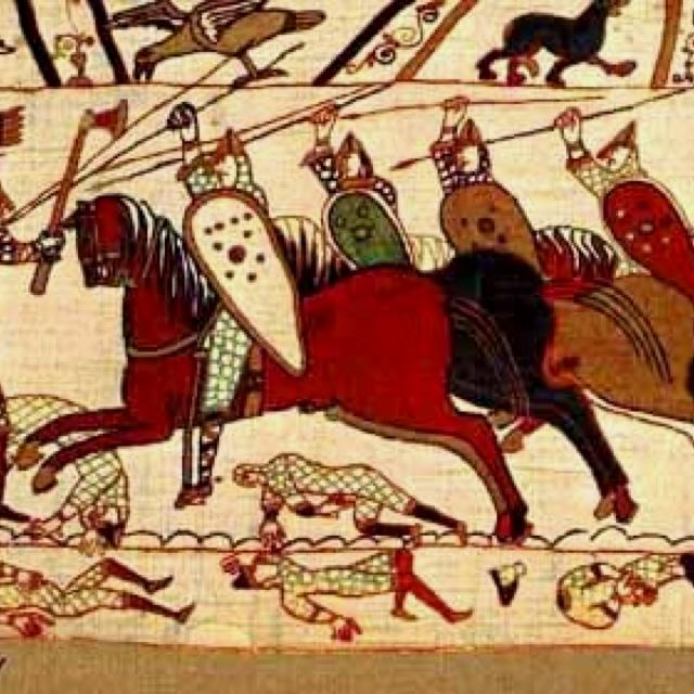 Tapisserie de Bayeux - La tapisserie représente 1 512 personnages. Des inscriptions permettent d'en identifier quelques-uns et renvoient aux différents moments de l'action. Le pourtour est orné de feuillages, d'animaux fantastiques et de scènes de chasse. La dernière partie de la tapisserie (peut-être une description des lendemains de la défaite) a été détruite.