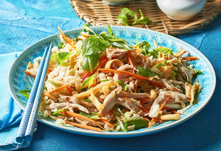 Served with a sweet chilli & peanut dressing, this chicken, cabbage, carrot and noodle salad with fresh mint is made by simply putting all ingredients together!