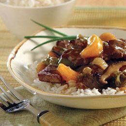 Asian beef with mandarin oranges (crockpot meal)