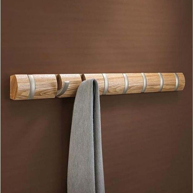 Porte-manteau Mural Bois Patère Flip L – Taille : Taille Unique