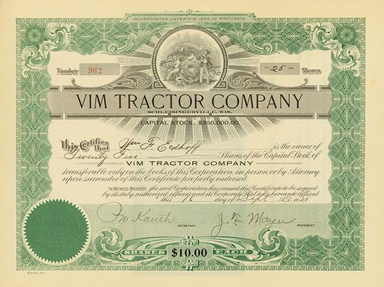 VIM Tractor Company  Schleisingerville, #Wisconsin, 16 September 1920, 25 Shares á US-$ 10, #962, 21.2 x 28 cm, green, black, folds, superb vignette.