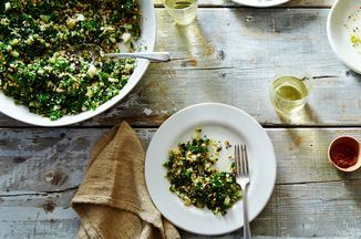 "Jessica Koslow's Crispy Brown Rice ""Kabbouleh"" Recipe on Food52, a recipe on Food52 with Kale and Cauliflower"