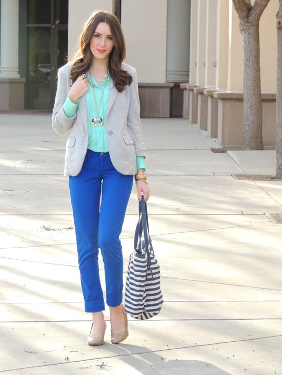 Blue pants, mint/teal/turquoise shirt, grey blazer, nude heels, nautical stripe bag