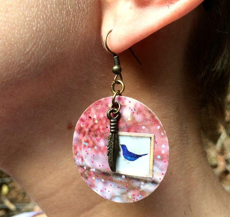 Earring Cherry Blossom bird $50,00  PAR