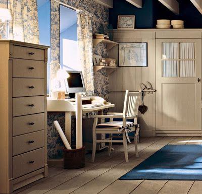 Diseño Dormitorio Inglés en Azul y Beige para Niñas