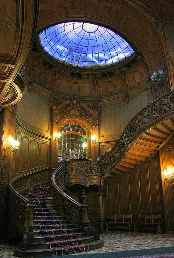 Skylight, Peles Castle, Romania photo via besttravelphotos...workmanship on that stair railing and