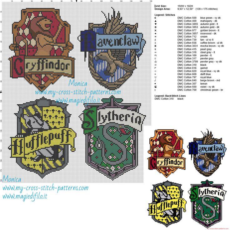 Casas de Hogwarts patrón punto de cruz