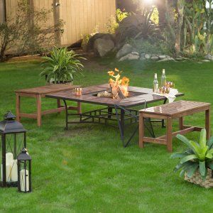 Fire Pit Table Set On Hayneedle   Patio Fire Pit Seating For Sale