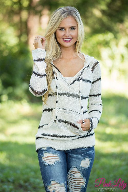 You're going to wish fall lasted forever in this new hoodie! We adore the beautiful combination of black and cream - it looks amazing with jeans or jeggings!
