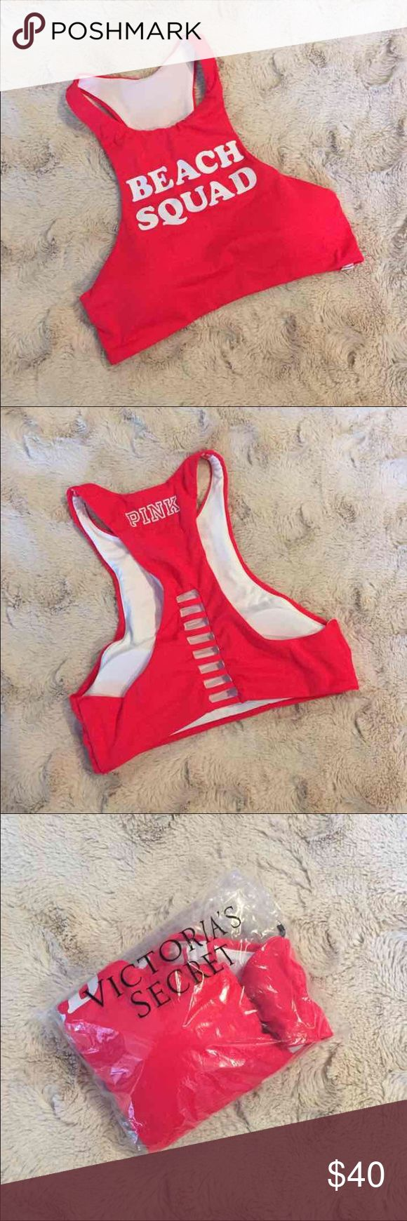 """LAST ONE!  High-Neck Swim Crop Style: High-Neck Swim Crop Top """"Beach Squad""""   Discount offered on all bundles!    Please use the offer button (I will not negotiate prices in listing comments).    NO TRADES!   *Stock photos show example of style only. Actual picture and color of item is shown in 1st photo.   Related: VS, VSX, Victoria's Secret, PINK, Swim, Bikini, Bathing Suit, Beachwear, Swimwear, Two Piece, Follow Me, Follow Game PINK Victoria's Secret Swim Bikinis"""