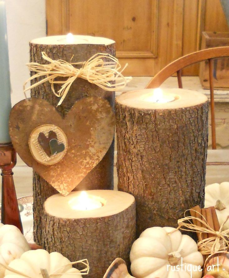 Best 25 log centerpieces ideas only on pinterest silver for Log candles diy