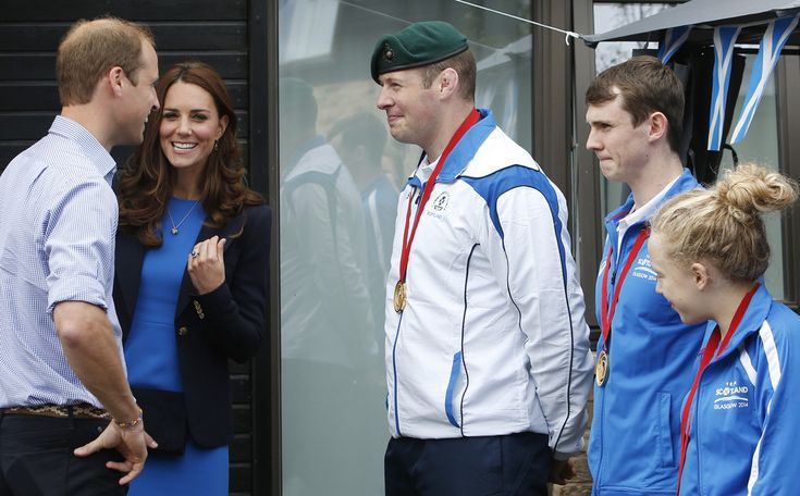 July 29, 2014 - Prince William, Duke of Cambridge and Catherine, Duchess of Cambridge meet medal winners (left to right) Chris Sherrington, Ross Murdoch and Erraid Davies during a visit to the Commonwealth Games Village in Glasgow, Scotland.