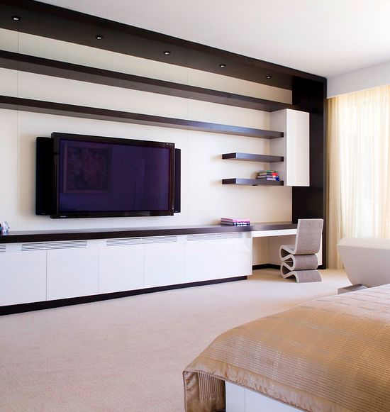 Mounted TV And Floating Shelves For TV Display