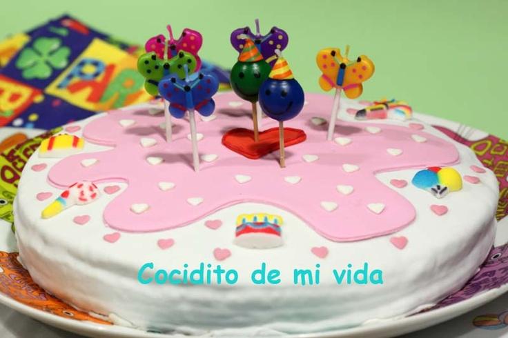 Cocidito de mi vida: Tarta de fondant de cumpleaños