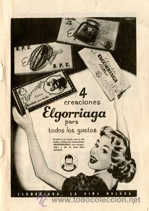 Página Publicidad Original *Chocolates ELGORRIAGA* Agencia PUBLICITAS - Vintage Año 1957