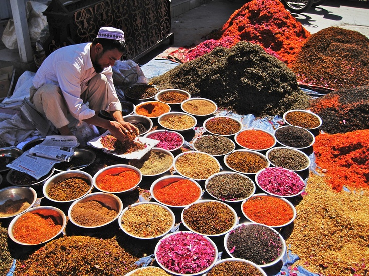 Assorted spices, flowers, herbs used for tea. Open market in Kashgar,Xinjiang - China
