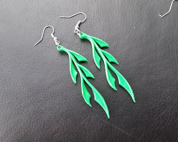 3D Printed Leafy Earrings by TheCoconutRobot on Etsy