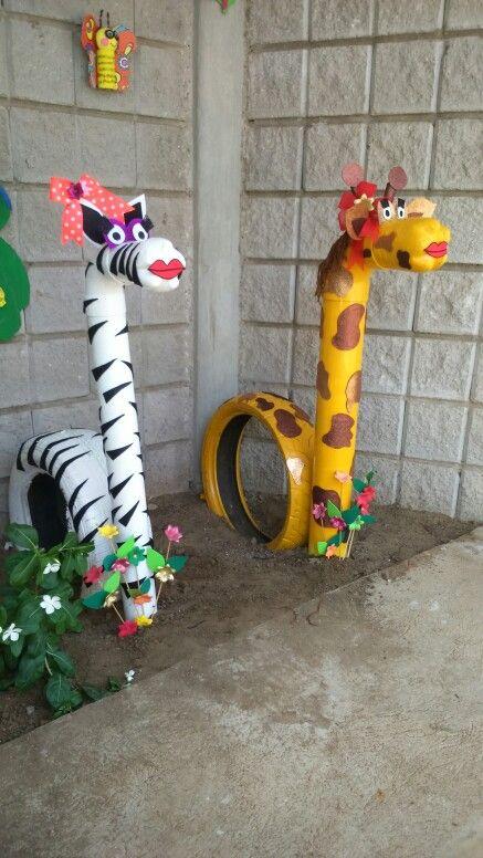 Decoración ecológica...  cebra y jirafa coqueta