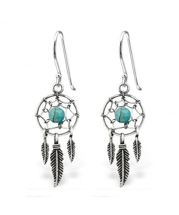 dbe2759b4 925 Sterling Silver Hypoallergenic Dream Catcher & Dangling Feathers w/ Turquoise  Fishhook Earrings 30827 C312O7K9GSI #Stud #Earrings # #Stud