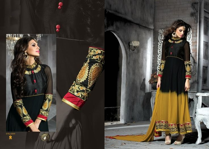 Black Color Pure Georgette Embroidery Work Designer Dress Material