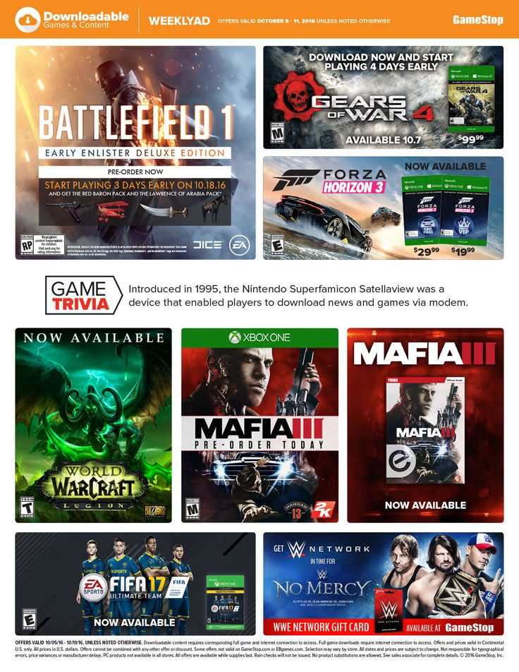 Game Stop Weekly Ad October 5 - 11, 2016 - http://www.olcatalog.com/game-stop/game-stop-weekly-ad.html