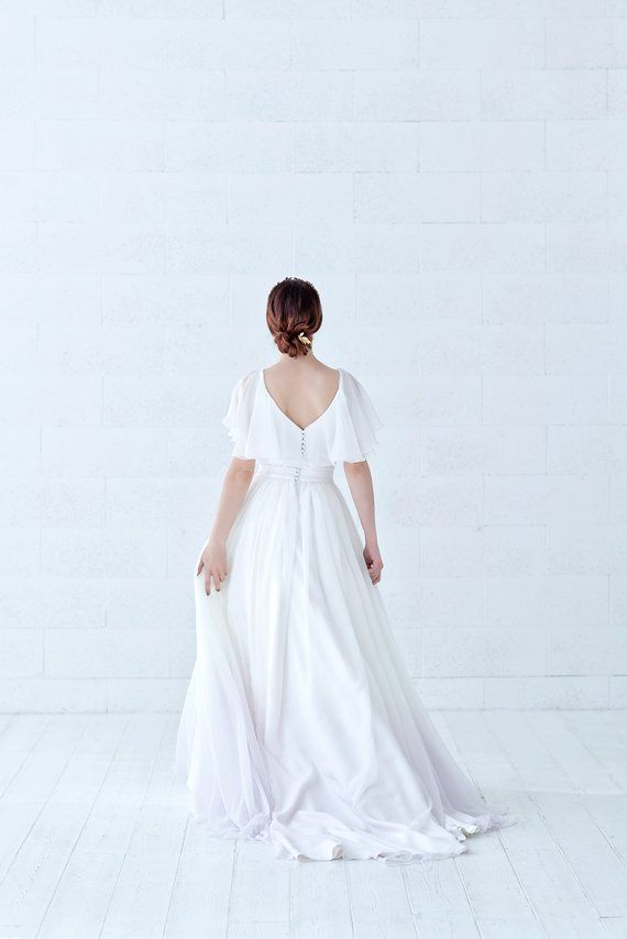 Tulia Cape Sleeves Chiffon Wedding Dress With Ombre Dip Dyed Bottom And Pockets Wedding Dress Chiffon Sleeves Wedding Dress With Pockets Wedding Dress Chiffon