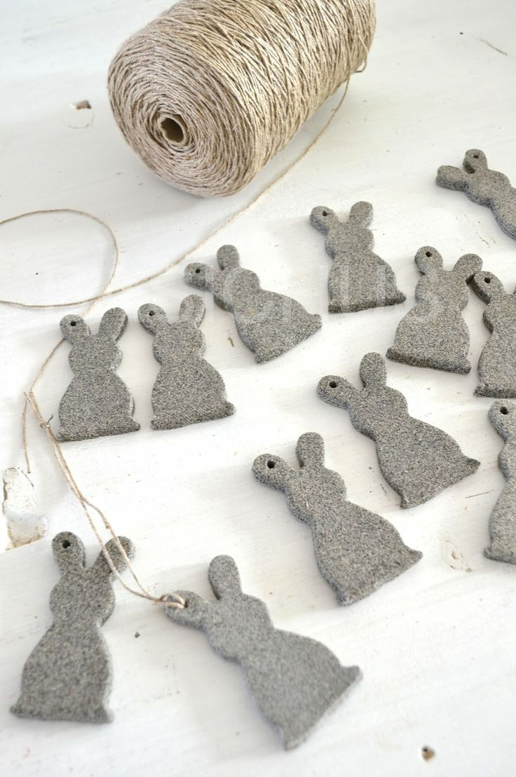 felt bunnies on twine - decorations - obsess
