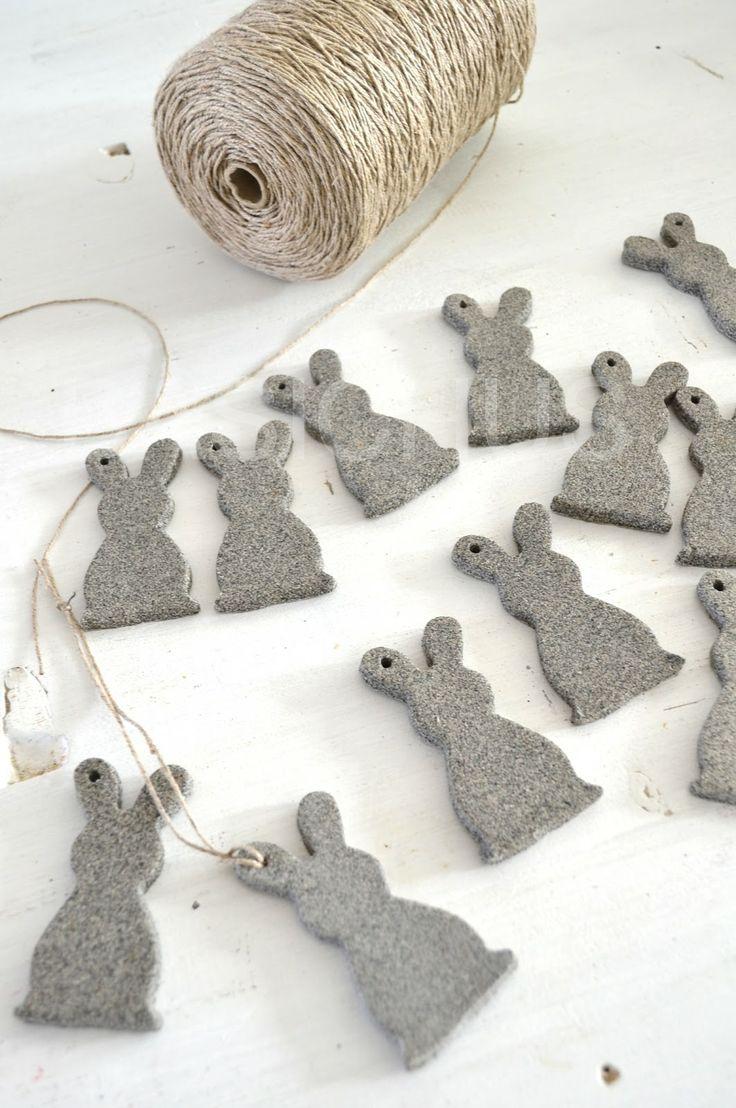felt bunnies on twine - decorations - obsess