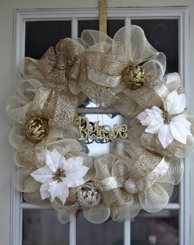 Believe Christmas Deco Mesh Wreath. www.facebook.com/virgiestreasures