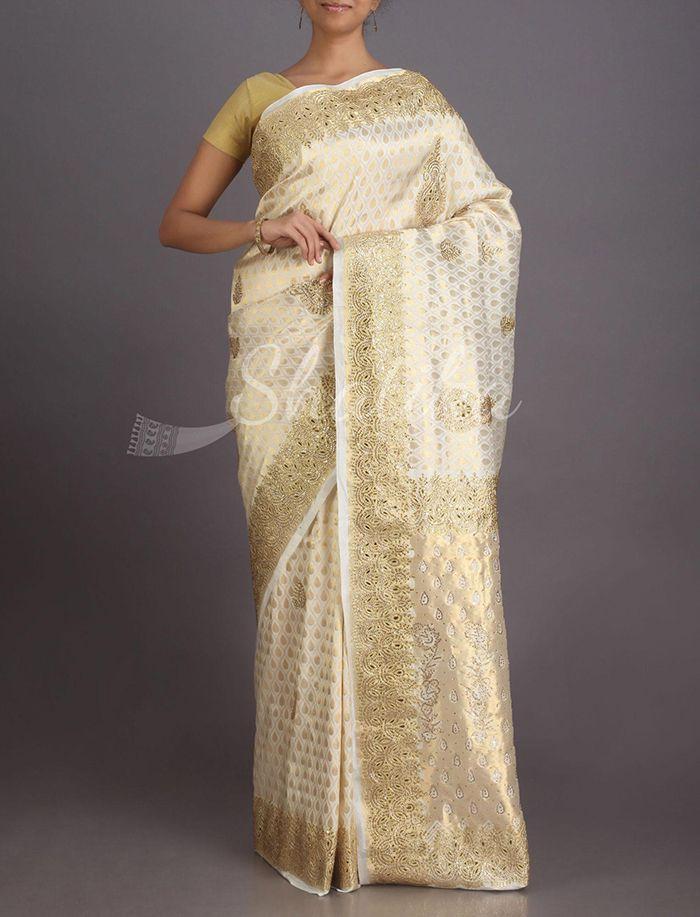 Anila Cream And Gold Splendorous Heavy Ornate Kanchipuram Hand-Work Silk Saree