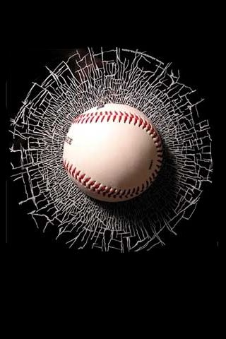 3d Iphone Wallpapers Background Lock Screens Baseball Stuck In Glass Broken Pinterest