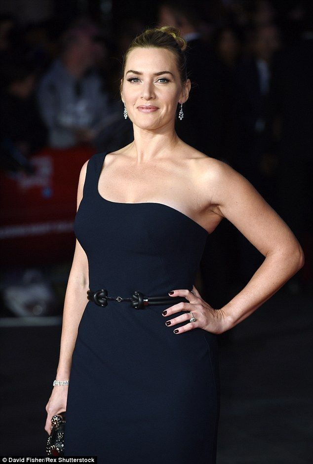 In the navy: Sporting a floor-length, belted number with backless detail, the 40 year-old certainly pulled out all the stops to make an impression at the BFI London Film Festival