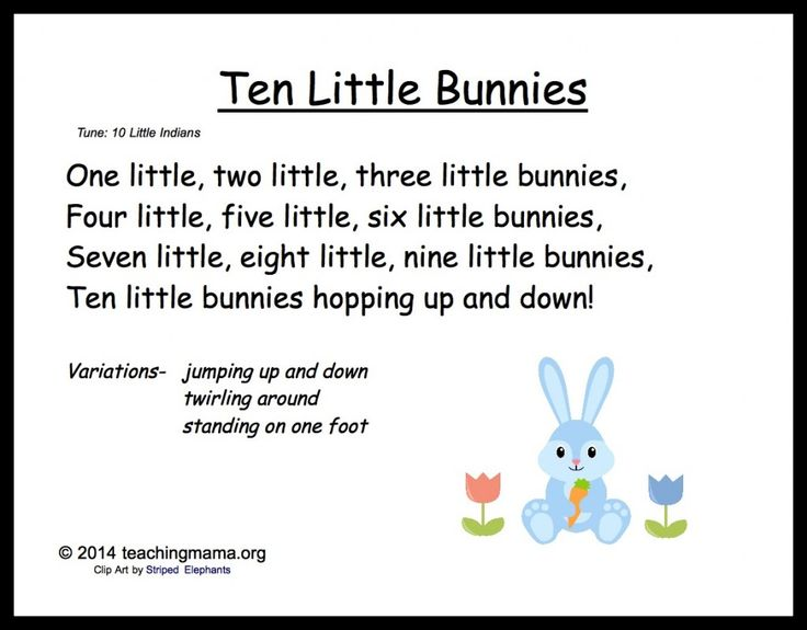 10 Little Bunnies Song:  Will definitely be trying this with my toddlers!