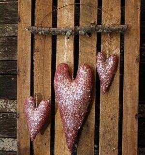 primitive valentine hearts door hanger