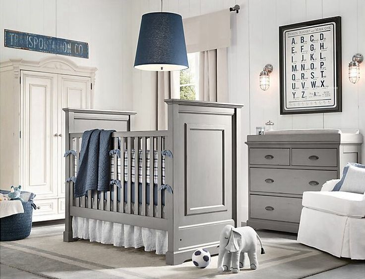 Grey and navy boy nursery